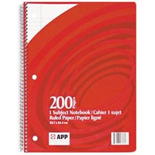 Cahier spirale 1 sujet - 200 pages - 10½ X 8 (7mm)