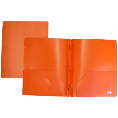buropro duo tang de plastique avec pochettes orange. Black Bedroom Furniture Sets. Home Design Ideas