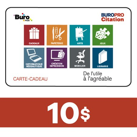 Carte-Cadeau 10$ - Buropro Citation