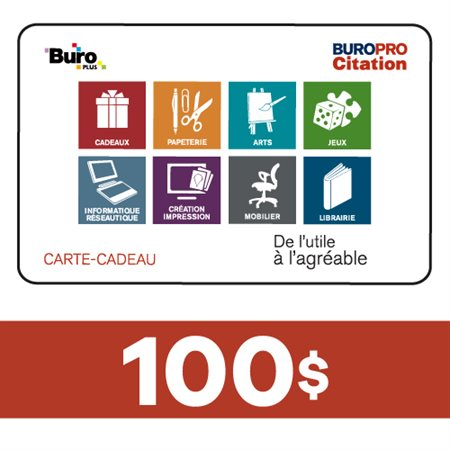 Carte-Cadeau 100$ - Buropro Citation