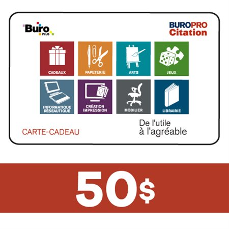 Carte-Cadeau 50$ - Buropro Citation
