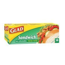 "Sac refermable Glad® Sandwich, 6 x 6"". bte 50"